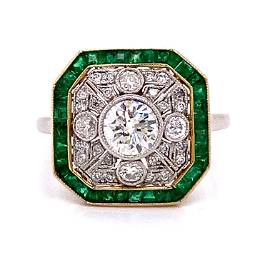 Platinum Gold Emerald Diamond Ring