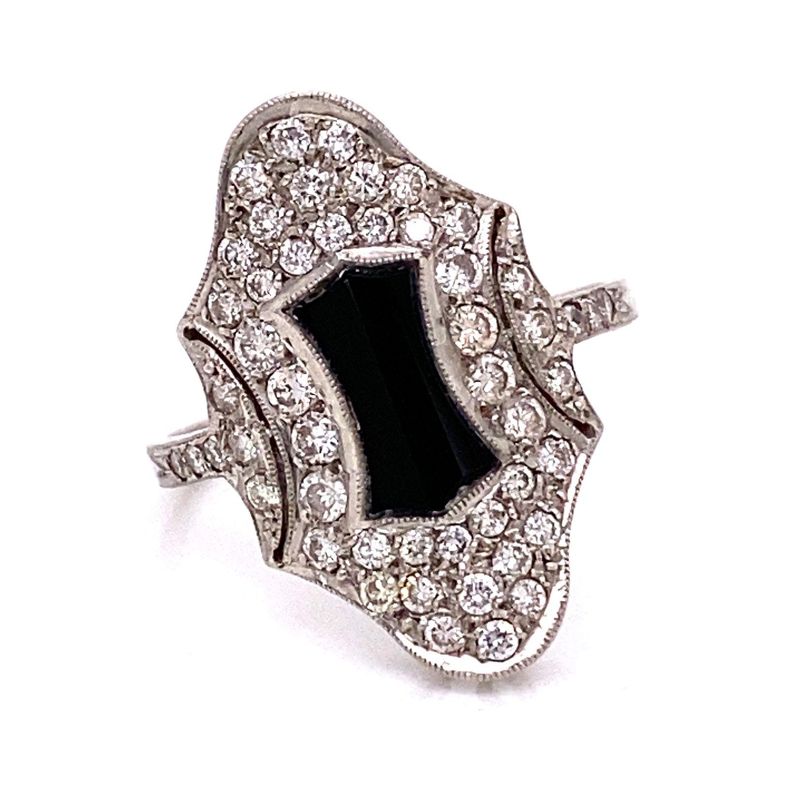 Ar Deco Platinum Onyx Diamond Cocktail Ring