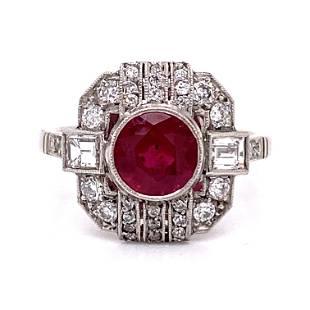 Platinum Diamond Ruby Cocktail Ring