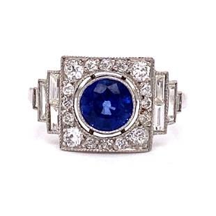 Platinum Sapphire Diamond Cocktail Ring