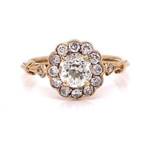 Victorian 18k Diamond Rosetta Engagement Ring