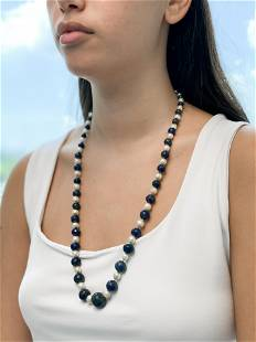 Lapis Lazuli Pearl Beaded Necklace