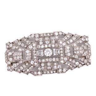 Art Deco Platinum Diamond Bar Brooch