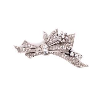 Platinum Diamond Retro Brooch