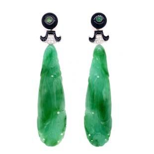 18k Jade Onyx Enamel Long Earrings