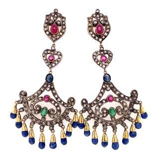 Victorian Indian Silver & Gold Em/Saphh/Dia/Ruby