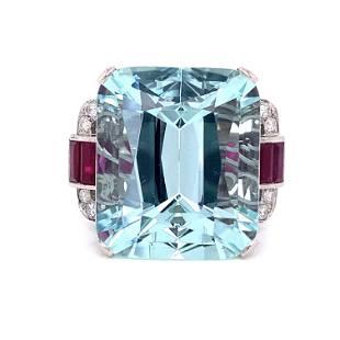 Platinum Diamond Aqua Ruby Diamond Ring