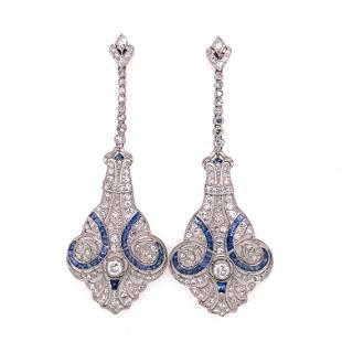 Platinum Sapphire Diamond Chandelier Earrings