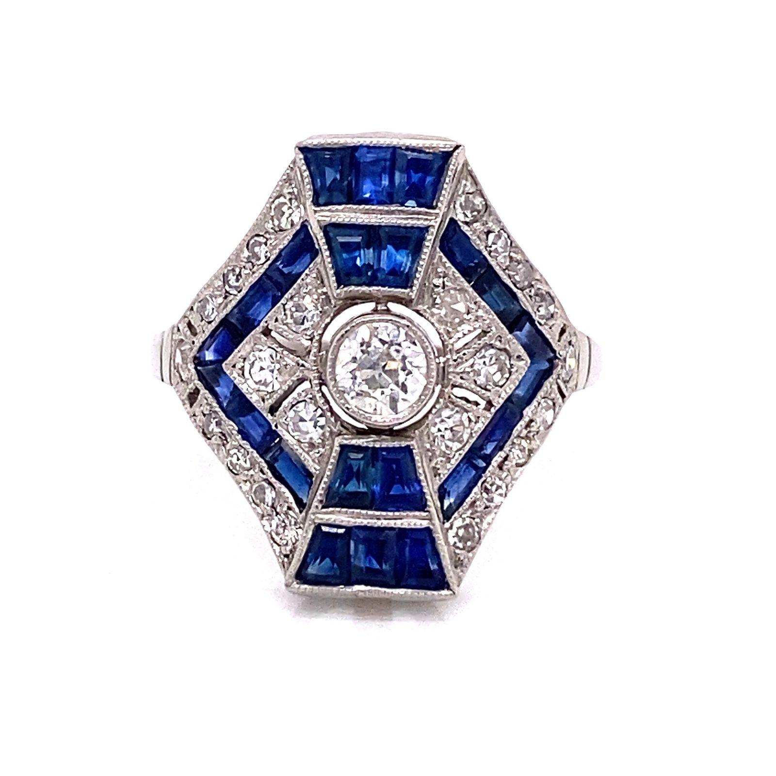 Platinum Sapphire Diamond Hexagon Cocktail Ring