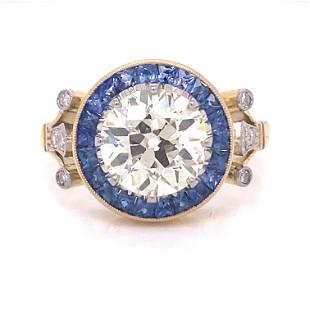 18k Diamond Sapphire Engagement Ring