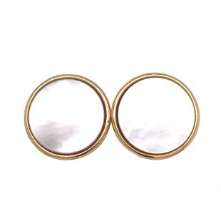 18k Mabe Pearl Round Earrings