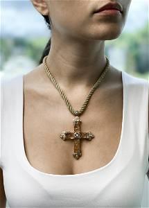 18k Citrine Cross