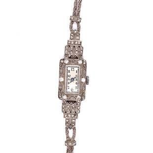 Art Deco 18k Diamond Cocktail Watch