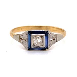 Art Deco 18k Sapphire Diamond Engagement Ring