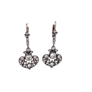Victorian Low Gold Diamond Drop Earrings