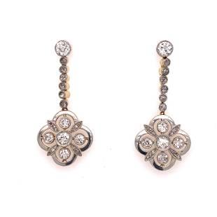 1920's 18k Platinum Diamond Drop Earrings