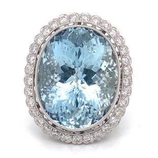 Platinum Aqua Diamond Rosetta Cocktail Ring