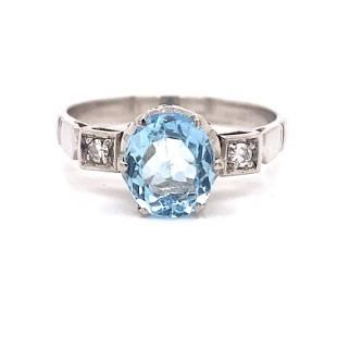 Platinum Aquamarine Engagement Ring