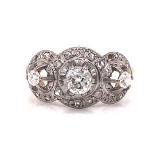 18k 1920's 3 Diamond Cocktail Ring