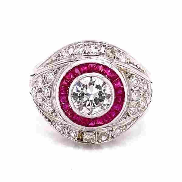 Art Deco Platinum Diamond Ruby Chevalier Ring