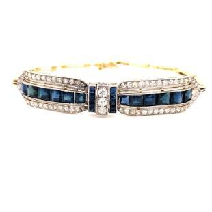Art Deco Platinum Gold Sapphire Diamond Bracelet