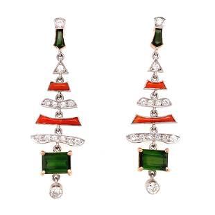 Platinum Tourmaline, Diamond, Coral Earrings