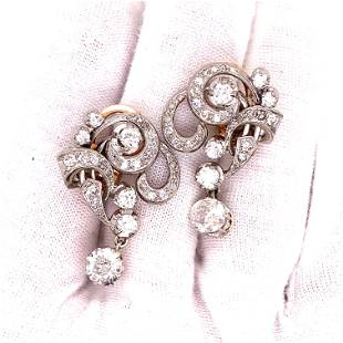 Platinum Retro Diamond Earrings