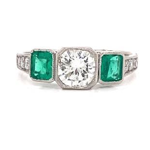 Platinum Diamond Emerald Engagement Ring