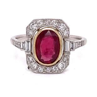 Platinum Diamond Ruby Ring