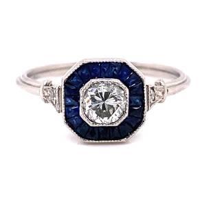 Platinum Sapphire Diamond Hexagon Engagement Ring