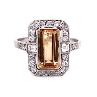 Platinum Imperial Topaz Diamond Ring