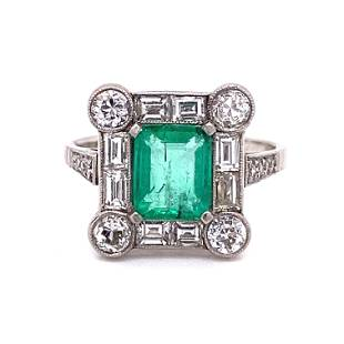 Platinum Diamond Colombian Emerald Ring