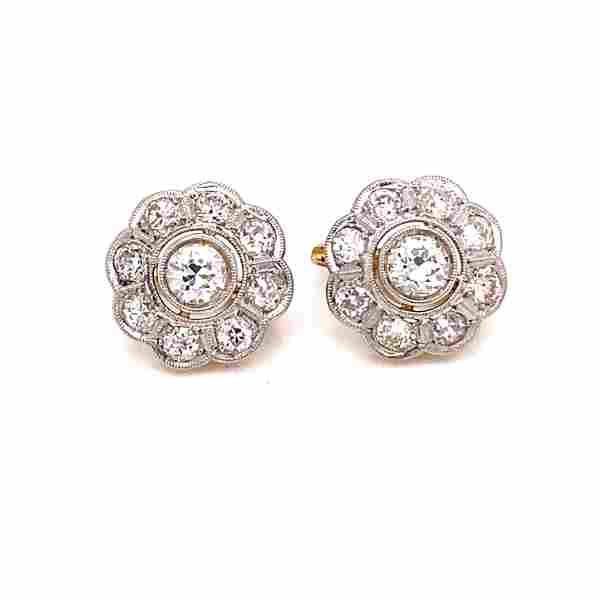 Edwardian 18k Diamond Rosetta Earrings