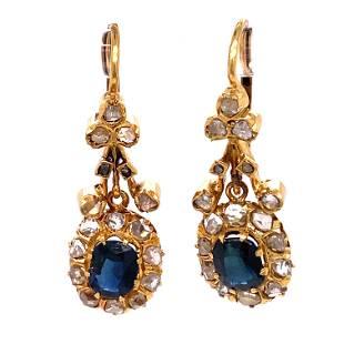 Victorian 18k Diamond Sapphire Earrings