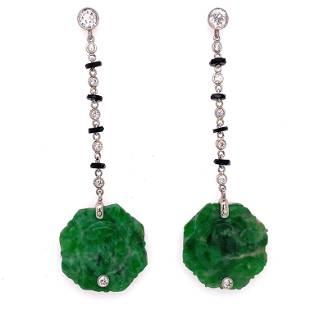Platinum Diamond Jade Onyx Drop Earrings