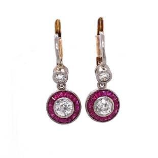 Platinum Diamond Ruby Halo Earrings