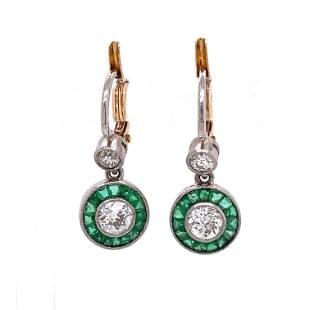 Platinum Diamond Emerald Halo Earrings