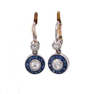 Platinum Diamond Sapphire Halo Earrings