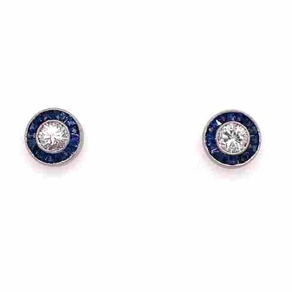 Platinum Diamond Sapphire Halo Stud Earrings