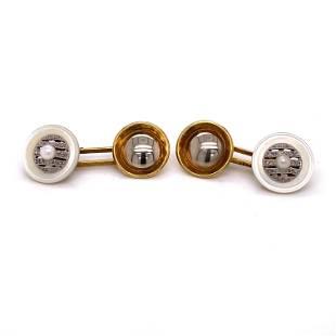 18k Art Deco Mabe Diamond Cufflinks