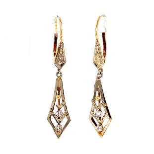 18k 1920's Drop Earrings