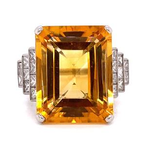 Platinum Diamond Citrine Ring