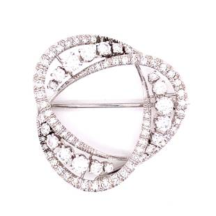 Platinum Retro Diamond Brooch