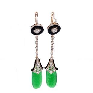 Platinum Diamond Jade Jadeite Drop Earrings