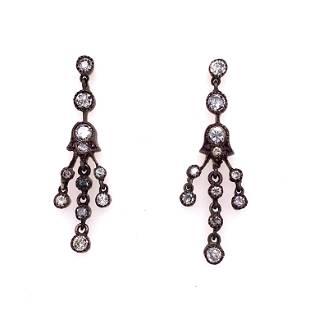 Silver & Gold Diamond Earrings