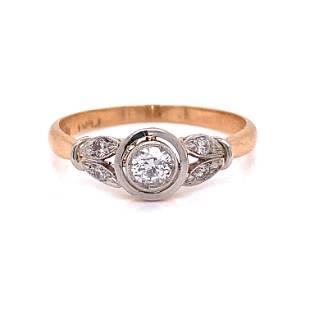 18k Platinum Edwardian Diamond Engagement Ring