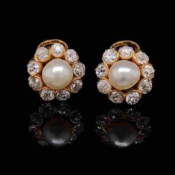 Edwardian Diamond & (Natural) Pearls Rosetta Earrings