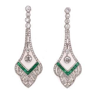 Platinum Emerald Diamond Earrings