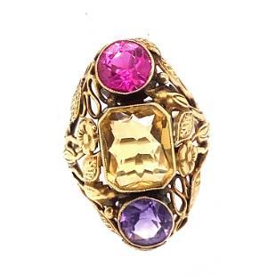 Art Nouveau 14k Multi Gem Ring