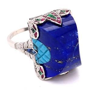 Platinum Lapis Multicolor Stone Ring